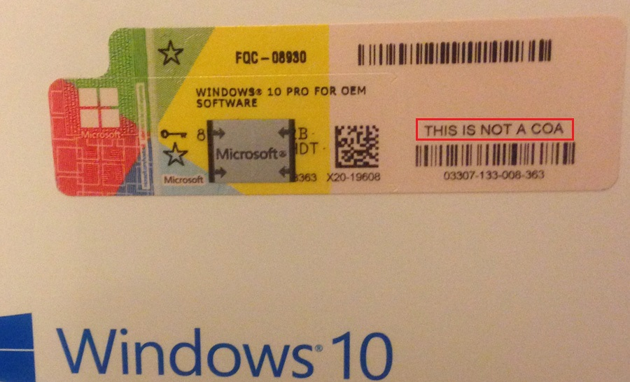microsoft windows 10 oem product key